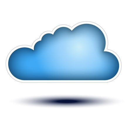 cloud network: Blue Cloud Button Concept on white background  Cloud Icon on white background, concept button full sized