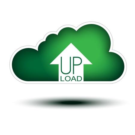 uploading: Cloud Concept Green Button per Icon nuvolosa Upload su sfondo bianco, bottone concetto pieno di dimensioni con una freccia a uoload animali