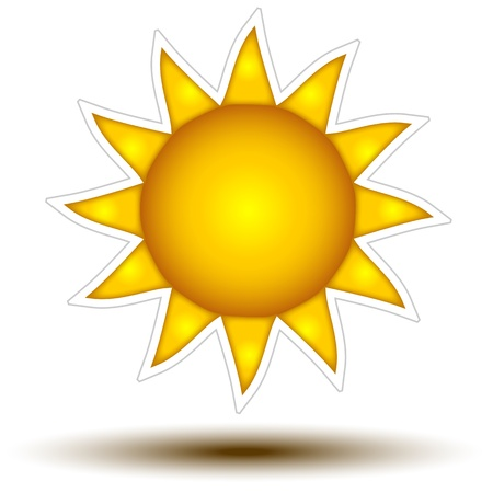 Deep Yellow Sun Button Concept   Sun Icon on white background, concept button full sized perfect for weather websites