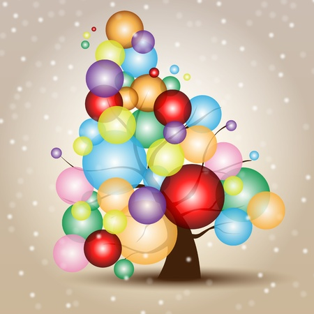 Christmas Tree Card with Snow and balls  Multicolored Merry Xmas card with the Tree Icon, and free copyspace Vector