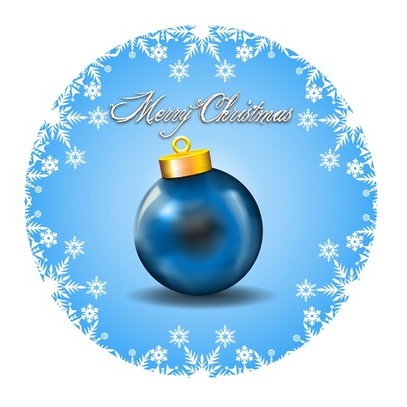 Merry Christmas Decoration with white snow icons and Blue Ball   Merry Christmas Wishes framed by a White Snow Icons decoration in a cyan background with blue ball Illustration