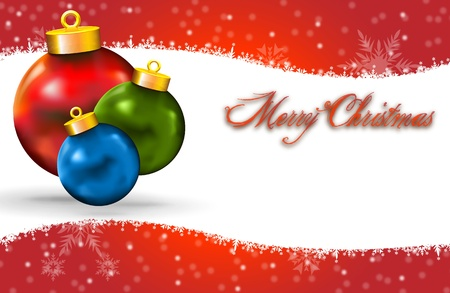 Merry Christmas Card with Snow icon decoration and copy space  Merry Xmas card with Snow icon decoration and colored balls, with copy space
