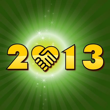 dandose la mano: Feliz a�o nuevo 2013 manos temblorosas tener un a�o nuevo, feliz 2013, texto sobre un fondo verde fantas�a con manos temblorosas icono Vectores