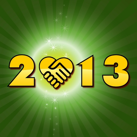 two thousand thirteen: Green Happy new 2013 year shaking hands  have a new year, happy 2013, text on a green fantasy background with shaking hands icon