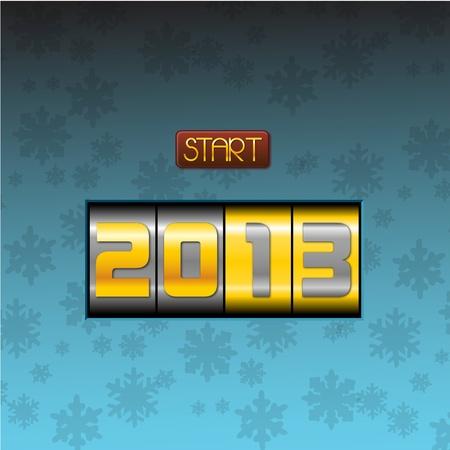 two thousand thirteen: Pulsar para iniciar 2013 a�o fondo azul elegante tener un a�o nuevo presionando el botton, feliz 2013, iniciar el twothousandthirteen fondo azul elegante Vectores