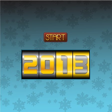 two thousand thirteen: Push to start 2013 year elegant blue background  have a new year pushing the botton, happy 2013, start the twothousandthirteen elegant blue background
