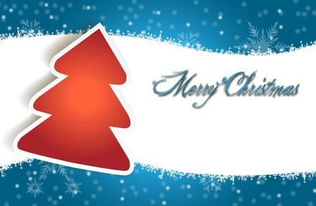 two thousand thirteen: Feliz Navidad con nieve decoraci�n icono, icono rojo �rbol y espacio de la copia Tarjeta de la Feliz Navidad con la decoraci�n de la nieve y el icono icono de �rbol rojo, con copia espacio Vectores
