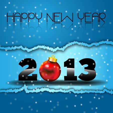 Happy New Year 2013 with Red Christmas Ball  Happy new year s eve with snow and red Xmas Ball on a torn paper Vector
