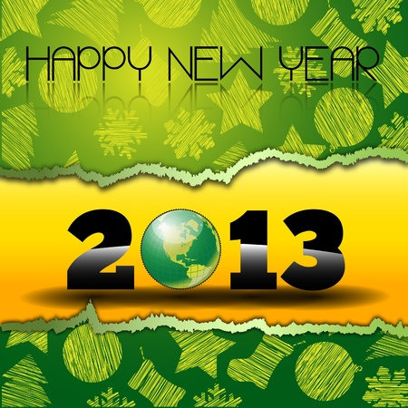 two thousand thirteen: Happy New Year 2013 with green World Globe  Happy new year s eve with snow and Green world Globe on a yellow torn paper with christmas icons Illustration