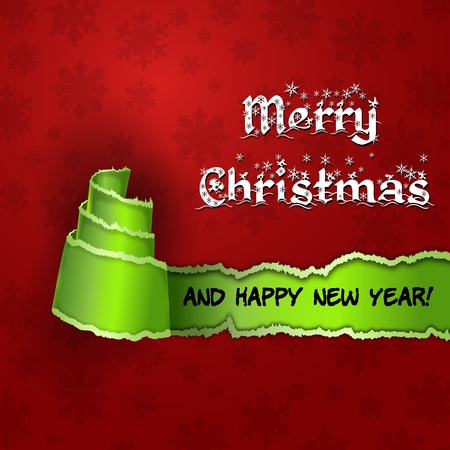 Red card with  Christmas Tree made of torn paper  Merry Christmas and Happy new year red card with green torn paper with the form of a tree Illustration