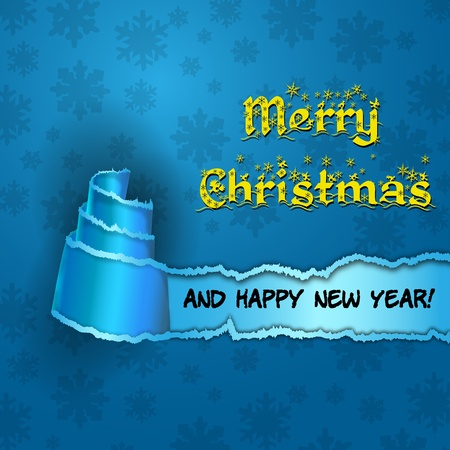 two thousand thirteen: Blue card with  Christmas Tree made of torn paper  Merry Christmas and Happy new year blue card with cyan torn paper with the form of a tree