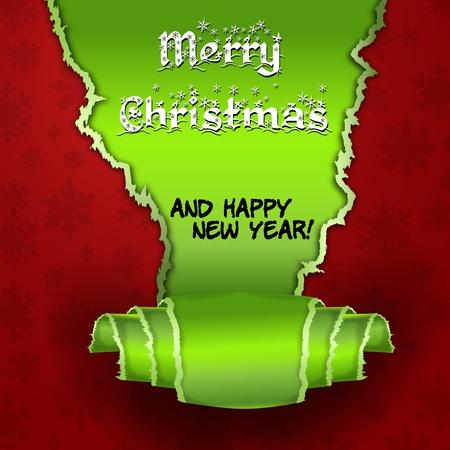 two thousand thirteen: Tarjeta roja con el �rbol de navidad hecho de papel rasgado Feliz Navidad y Feliz A�o rojo tarjeta nueva con trozos de papel verde con la forma de un �rbol