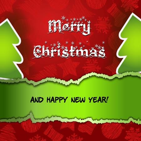 two thousand thirteen: Rojo Feliz Navidad con verde �rbol de Navidad Tarjeta roja Feliz Navidad con el icono del �rbol, y copyspace con una mano escrito deseo de texto en un fondo de papel rasgado agradable Vectores