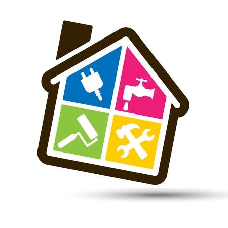 equipos: Cuatro colores hecha en casa por su cuenta, con los iconos de Electricidad, Hidr�ulica, Pintura y Bricolaje
