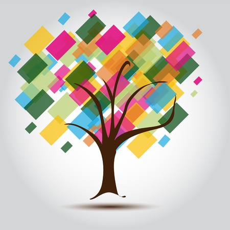 opportunity sign: Multicolored tree for Business card Background for stationary  A business multicolored Tree background for a Contemporary Company,  perfect for stationary or Business cards Illustration