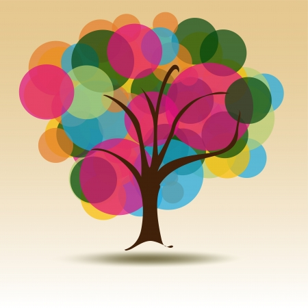 Circle Multicolored tree for Business card Background for stationary  A business multicolored Tree with circles background for the Contemporary Company  perfect for stationary.