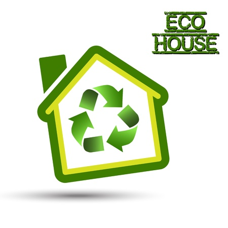 Green Eco House with recycling symbol   Green Home, with recycling icon for sustainable ecological system TO KNOW  File include  JPG  HiRes    AI CS5   EPS10  opened with all program  fully editable with layers  Easy to custom