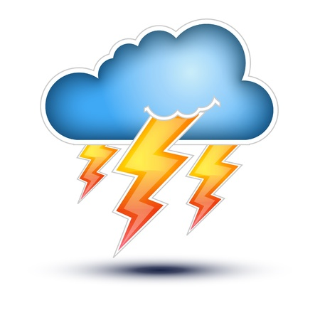 Blue Cloud with Lightning signs for Bad Weather   Cloud Icon with lightning signs on white background, Button Concept on white background TO KNOW  File include   EPS10  opened with all program  fully editable with layers