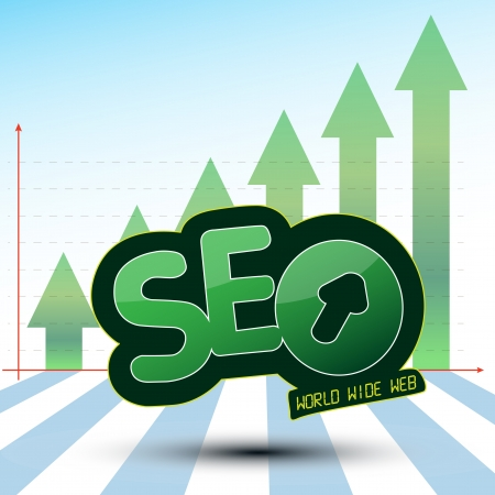 Searching Engine Optimization, SEO, an Icon which show the World wide web  WWW  Process used for a success Optimisation on the web and Growing Green Arrows  TO KNOW  File include  EPS10  opened with all software  fully editable with layers   Illustration