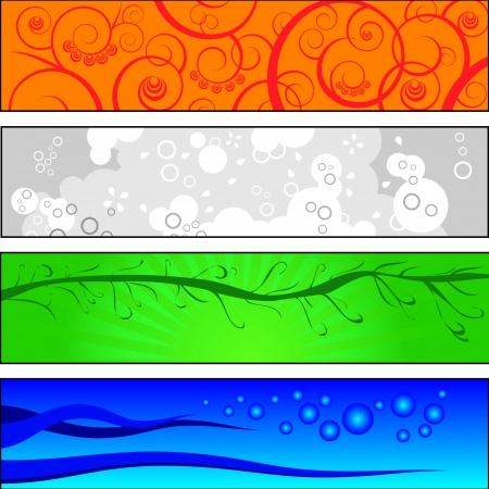 mooie achtergrond: Collectie van 4 Banner Klaar voor het web Banner Collection vier stijl, mooie achtergrond Stock Illustratie