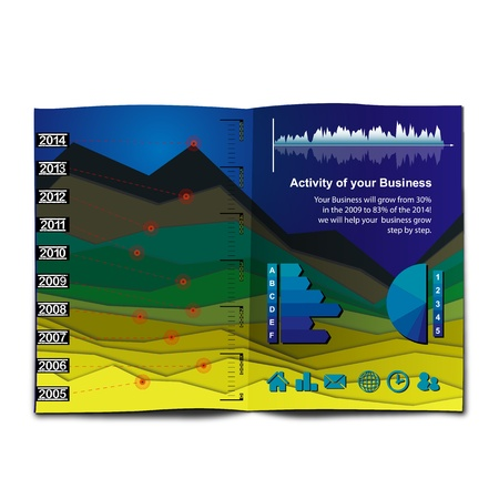 InfoGraphic Chart like a Mountain Landscape  Histogram chart customizable to explain the growth of your business with graphic elements collection and Icons Stock Vector - 17963288