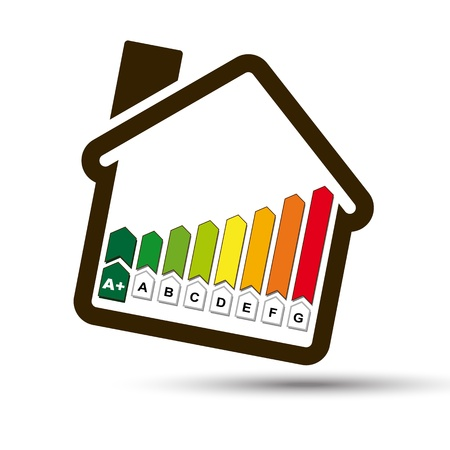 Eco House with Energetic Classes Histogram symbol   Ecological Home, with Energy Class Icon for sustainable ecological system