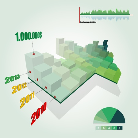 3D Histogram Graph with Growing Green Arrow Shape  Histogram chart customizable to explain the growth of your business Arrow UP