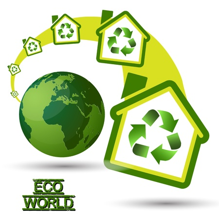 Green Eco House with recycling symbol from Green World  Green Home, with recycling icon for sustainable ecological system, growing out from a Green Eco World