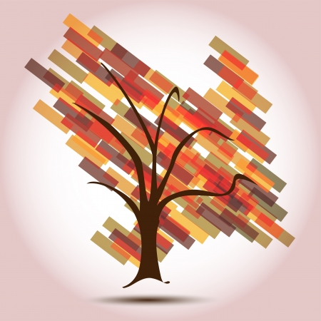 Autumn Tree with Arrow Down of Decreasing Business  A Business Red Tree background for a Contemporary Company,  perfect for stationary or Business cards