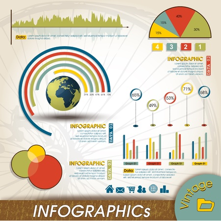 Vintage Infographic Design Collection, Charts and Histograms  Infographics Elements Collection Histograms & Charts customizable to explain the growth of your business Retro Style.
