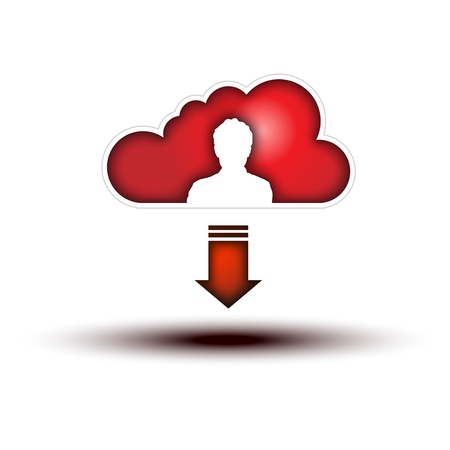 Red Cloud with Man Silhouette Icon with Down Arrow  Clouds with Man Silhouette Icon on white background,  for World Wide Communication