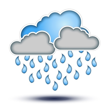 Blue & Grey Clouds with Rain Drops signs for Bad Weather   Cloud Icon with Rain Drop signs on white background, Button Concept for Forecast and Weather