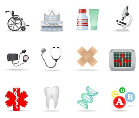 urgent care: Medical and health-care icons. Part 1