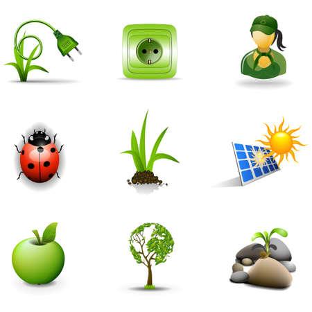 solar equipment: Iconos de eco, parte 3 Vectores