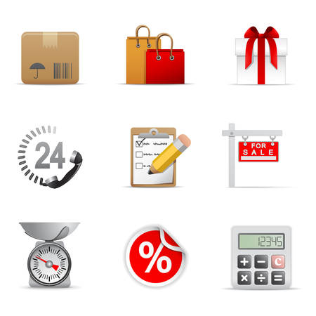 box weight: Shopping icons, part 1 Illustration