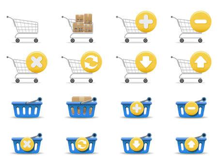 Shopping carts and baskets Stock Vector - 6113242