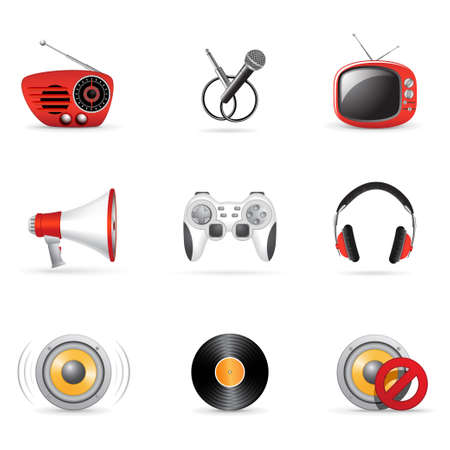 Media and music icons 3 Vector