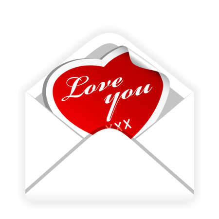 Letter with a Valentine card in it Stock Vector - 6220187