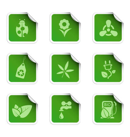 Ecology stickers 1 Vector