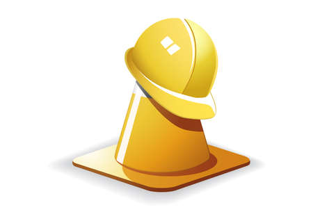 Traffic cone with a helmet on it Vector