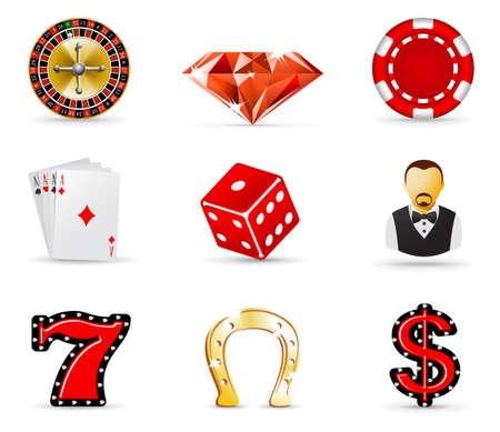 gambling chip: Casino y juegos de azar iicons, parte 1 Vectores