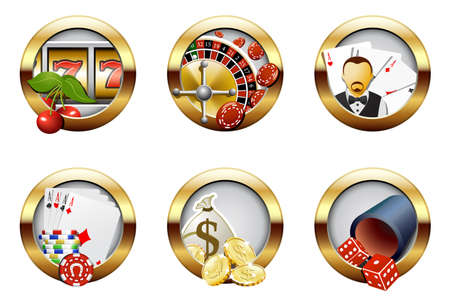Casino and gambling buttons Stock Vector - 6569018