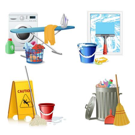 housekeeping: Herramientas de limpieza  Vectores