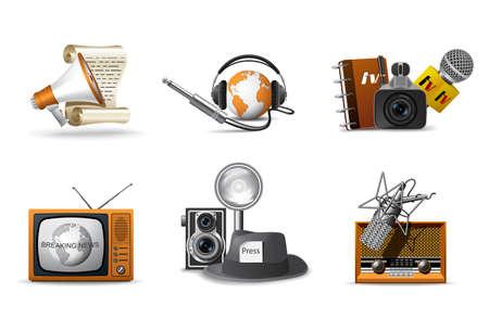 reportero: Iconos de periodista y prensa  Vectores