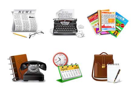 Iconos de periodista y prensa, parte 2  Ilustración de vector