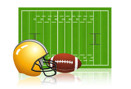 nfl: American football field with ball and helmet