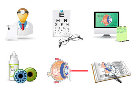 eye exam: Medical icons set | Ophtalmology Illustration