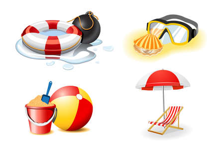 diving save: Vacation and travel icons, part 2 Illustration