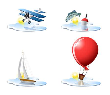 flying boat: Vacaciones y viajes de iconos, parte 3  Vectores