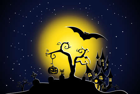 Halloween night scene vector Stock Vector - 7840941